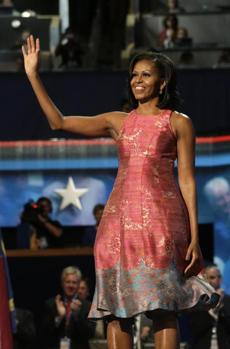 Tracy Reese: Obama has been a champion of African-American designers, and she's worn Reese designs on at least 15 occasions, including the night of her speech at the Democratic National Convention in September. Initially, the DNC dress was a one-of-a-kind creation made specifically for the first lady. But the pink frock was such a hit that Reese is now selling it.